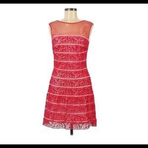 Tadashi Shoji Red Lace Sleeveless Dress Sz 8